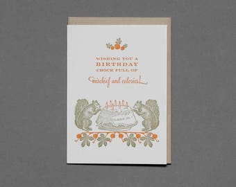 Mischief and Calories - Squirrel Letterpress Birthday Card