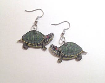Handcrafted Plastic Red Ear Aquatic Turtle Earrings Made in USA