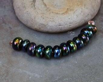 Peacock Spacers - Handmade Lampwork Glass Beads, tiny spacer beads - SRA Elasia - MTO