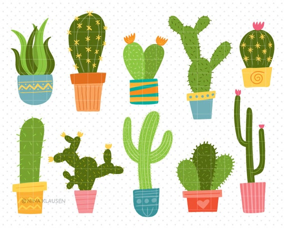 Potted Cactus Clip-Art / Succulents And Cacti Artwork / C0010