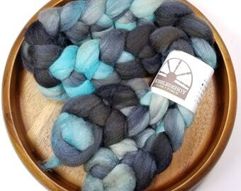 Stratus Clouds - hand-dyed Polwarth wool and silk (4 oz.) combed top roving