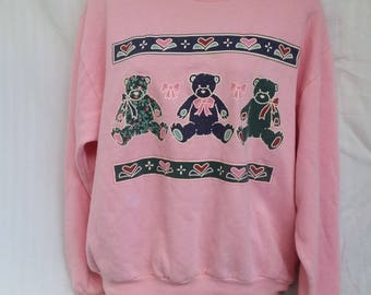 Vintage Bubblegum Pink Teddy Bear Sweatshirt Size Medium