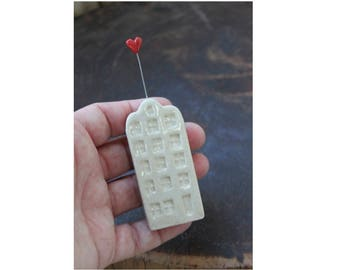 Ceramic Miniature White Apartment Building with Red Heart - Ready to Ship for !- Mother's Day