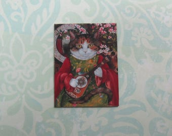 Dollhouse Miniature Cat with Mandolin Art Print Panel