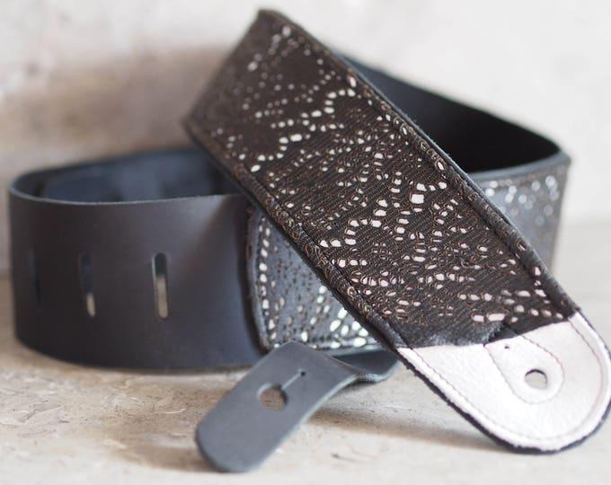 Black Lace Leather Guitar Strap