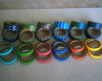 """Washi Tape 24 Sample Rolls, 1/2"""" and 1/4"""" Tapes, Clearance Sale"""