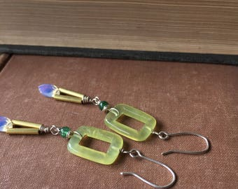 Olive Jade Earrings. Long Sterling Silver Brass and Opalite Earrings by annemorejewelry