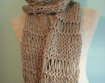 SALE Lacey Knit Scarf Openweave Cowl Wrap Soft Putty Shawl Scarf 100% Cotton