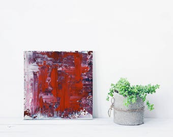 """ORIGINAL Red Abstract Painting """"Dazzled"""" by Lisa Carney, Textured Acrylic, Modern Abstract, Minimal Painting, Reductive Art, Small Abstract"""