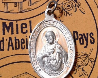 SALE 1920s FRENCH SCAPULAR Medal Antique Sacred Heart Of Jesus Have Mercy On Us