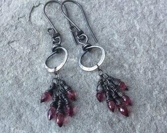 Pink GARNET Earrings, sterling silver hoop cluster earrings, pink gemstone jewelry, handmade by AngryHairJewelry