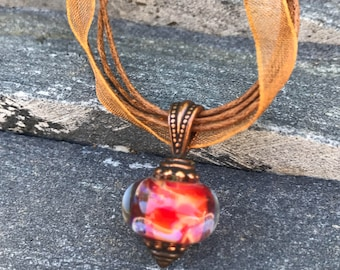 Pendant Necklace - Lampwork Necklace - Pink Swirl