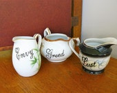 Envy Greed and Lust hand painted vintage china small milk jugs x 3 recycled asian motifs deadly sins