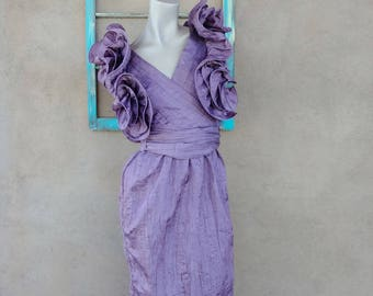 Vintage 1980s Evening Gown 80s Party Cocktail Dress Purple Sculptural Ruffled Sleeves Sz S