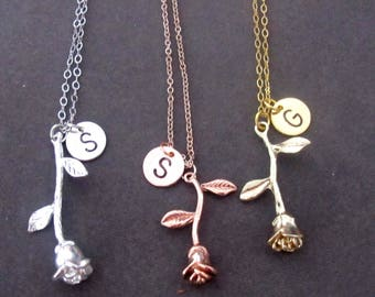 Rose Necklace Rose Gold Initial Necklace Rose Gold Rose Charm Necklace Rose Gold Charms Personalized Rose Necklace,Free Shipping USA
