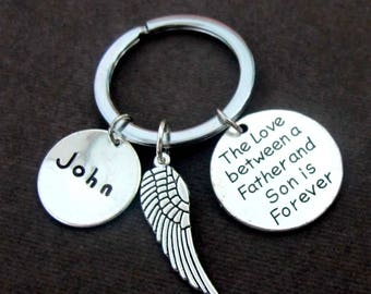 Father Memorial Keychain, Angel Wing Charm, In Memory of Father, Loss of Father, Remembrance Jewelry, Bereavement Gift, Free Shipping In USA