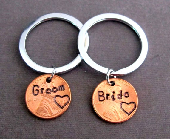 Groom and Bride Lucky Penny Keychain,Stamped Penny Couple Keychain,Personalized Bride and Groom Gift, Couple Wedding Gift, Free Shipping USA