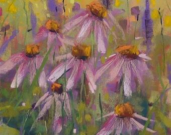 SQUARE Wildflowers Summer PRAIRIE Purple Coneflowers Original Pastel Painting Karen Margulis