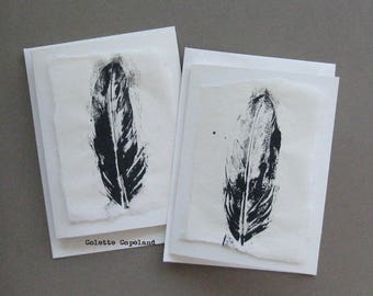 Handmade greeting cards, set of 2, with matching envelopes, feathers, monoprint on print paper