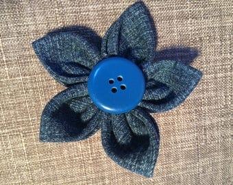 Denim Blue Fabric Flower Brooch Pin