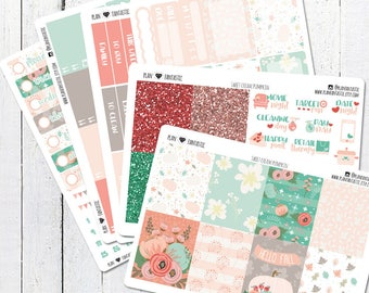 Floral Autumn Planner Sticker Kit, Fall Weekly Stickers, for use in Erin Condren Life Planner™