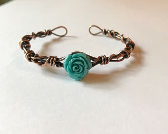 Turquoise Stone Rose & Antique Copper Wire Wrapped Cuff Style Bracelet.