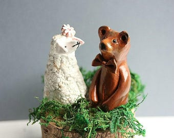 Clay Bear and Sheep - Wedding cake topper Brown bear and Sheep - Sheep Cake Topper - Brown Bear Cake topper - MADE TO ORDER