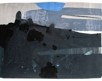 November Wait, Original Abstract Landscape Collage Painting on Paper, Stooshinoff