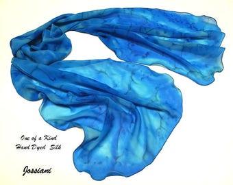 Ocean Blues Aqua Shawl Azure Coverup, Ink Ultramarine Maya Blue Wrap, Sky Blue Unique Blue Hand Painted Pure Silk Chiffon, Jossiani