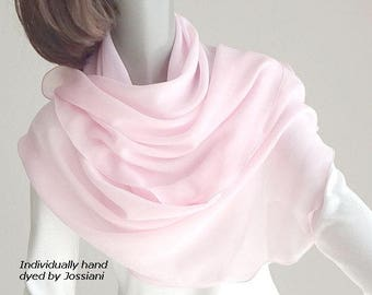 Light Pale Pink Sheer Scarf One of a Kind Hand Dyed, Pure Mulberry Silk Chiffon Coverup, Petite Small S XS Shawl Wrap, Artinsilk.