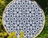 Vera Blackwork Traditional Cross Stitch Pattern Needlepoint Embroidery Print Decor Tudor Beginner Modern Monochrome Black White Spanish Work