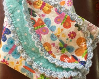 BABY BLANKET Soft, flannel, reversible with hand-crocheted accent edging BUTTERFLIES