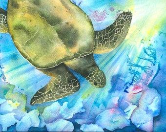 Honu ORIGINAL watercolor painting Sea Turtle Ocean Underwater by M. Pruitt
