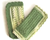 Cotton Washcloth, Crochet Dishcloth, Set of Two Sage Green and White Dish Cloths, Handmade Wash Cloth