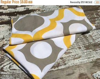 SALE- Retro Modern Fabric-Reclaimed Bed Linens-Gray and Yellow