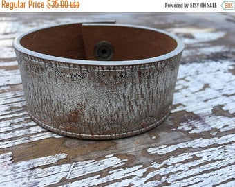 40% OFF- Custom Leather Cuff-Create Your Own-Tooled Leather-Word Cuff