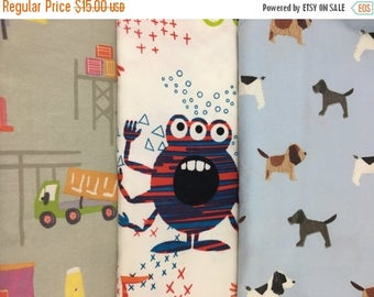 40% OFF- Reclaimed Pillowcase Fabric-Playful Childhood Prints-Monsters-Puppies-Trucks