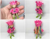 Bendy Doll- Princess Doll- Waldorf Bendable Felt Doll- Dollhouse Doll- Miniature Fairytale Princess- Small Doll- Child Friendly- Queen- Girl