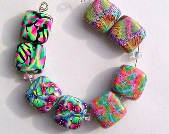 Colorful Square Earring Pairs Four Sets Handmade Artisan Polymer Clay Bead Pairs