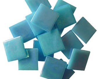 25 ct - 3/4 inch BLUE IRIDESCENT Vitreous Mosaic Tiles - DTI