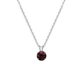Swarovski Crystal Solitaire Necklace Sterling Silver Pendant Burgundy or CHOICE OF COLOURS