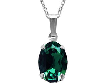 Swarovski Crystal Oval Pendant Necklace Sterling Silver Emerald Green or CHOICE OF COLOURS
