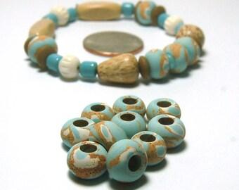 Island Paradise Vintage Ceramic Beads 10 - LOWERED PRICE - Stoneware Round, Large Hole, Marbled Blue, Beige, White Beachy Look