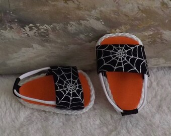 "Doll Sandals Shoes for 18"" doll and 13-14"" doll and 14.5"" doll (You Choose Size) Halloween Spider Web Orange Black Will Fit American Girl"