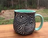 Carved Porcelain Bird Mug