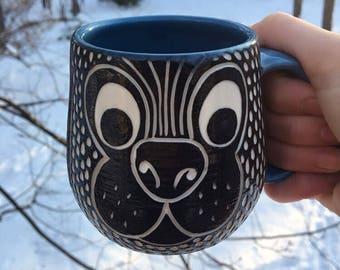 Carved Porcelain Dog Mug