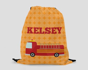 Firetruck Bag for Kids - Personalized Drawstring Backpack - Sports Bag - Pool Bag - Custom Bag with Child's Name - Firefighter