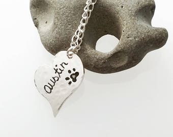 Name Dog Tag Paw Print, Animal Print grieving tag, Cat print, mourning jewelry, heart always in my heart,  romanza jewelry