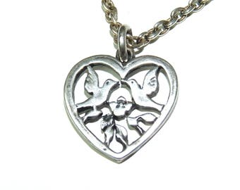 Love birds peandant necklace Heart Sterling Silver and Chain necklace Valentine day gift