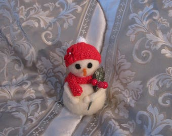 Needlefelted Snowman w/Handknit Hat and Scarf